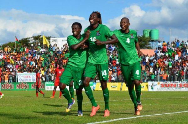 Chris Munthali celebrates with M'tonga