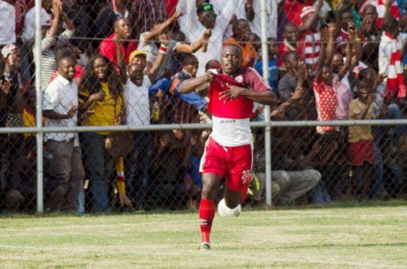 Soutra Tshimenga celebrates his first goal against Nkana