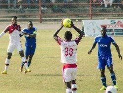 Dieuego Apenene throw in to Walter Bwalya against Nchanga Rangers