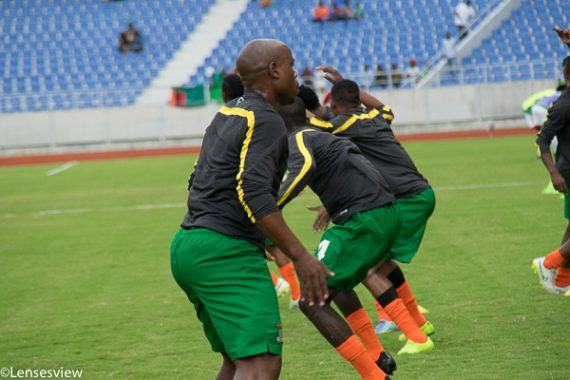 Collins Mbesuma warming up ahead of Congo Afcon Qualifier2016