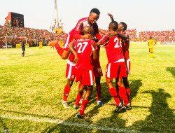 Nkana celebrates a goal against Power Dynamos at Arthur Davies in Kitwe