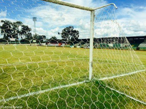 Goal post view of Shinde stadium