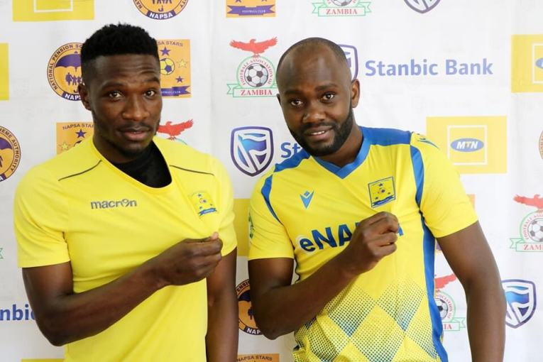 Timothy Otieno (right) welcomed at Napsa Stars by Shaaban Odhoji